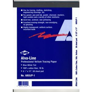 ALVIN Alva-Line Tracing Papers with Title Block and Border - Blue-White Tint, 100/Pkg.