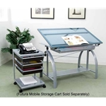 STUDIO RTA Avanta Drafting Table (Silver/Blue Glass)