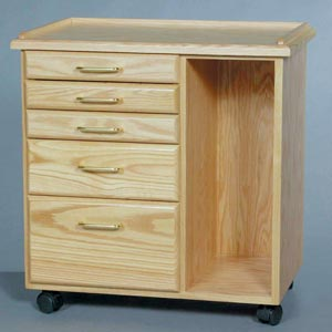 Oak Taboret   5-Drawer with slots