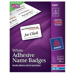 "Avery® White Adhesive Name Badges 2-1/3"" x 3-3/8"" (pkg/160)"